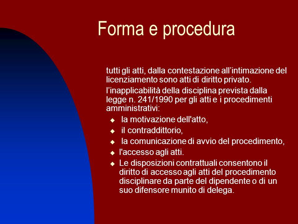 Forma e procedura tutti gli atti, dalla contestazione all'intimazione del licenziamento sono atti di diritto privato.