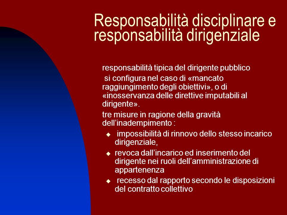 Responsabilità disciplinare e responsabilità dirigenziale