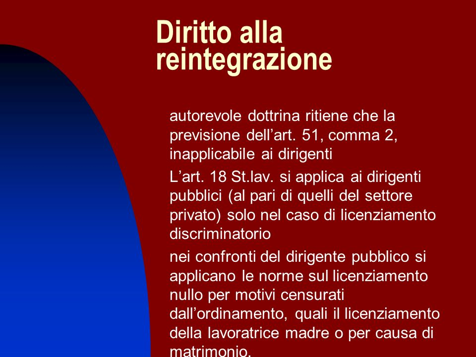Diritto alla reintegrazione