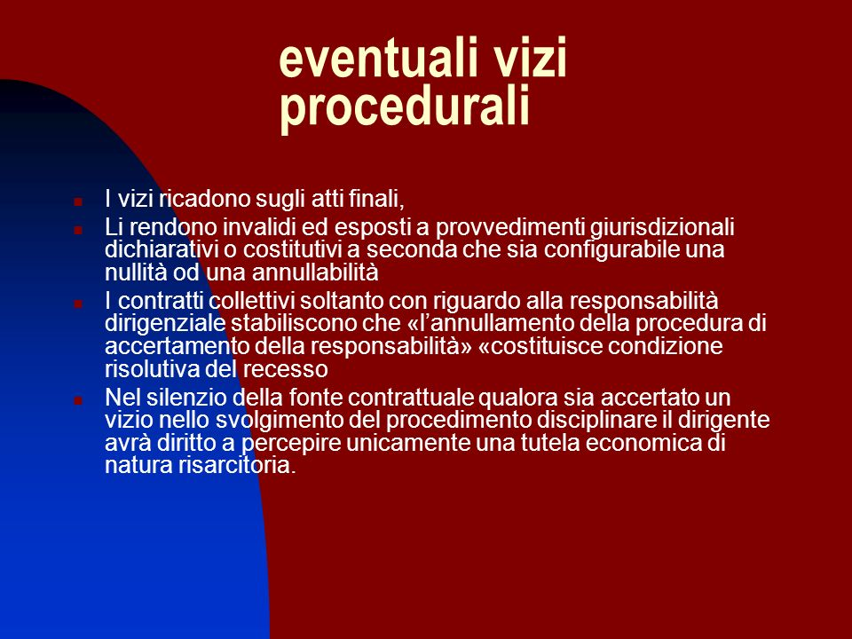 eventuali vizi procedurali