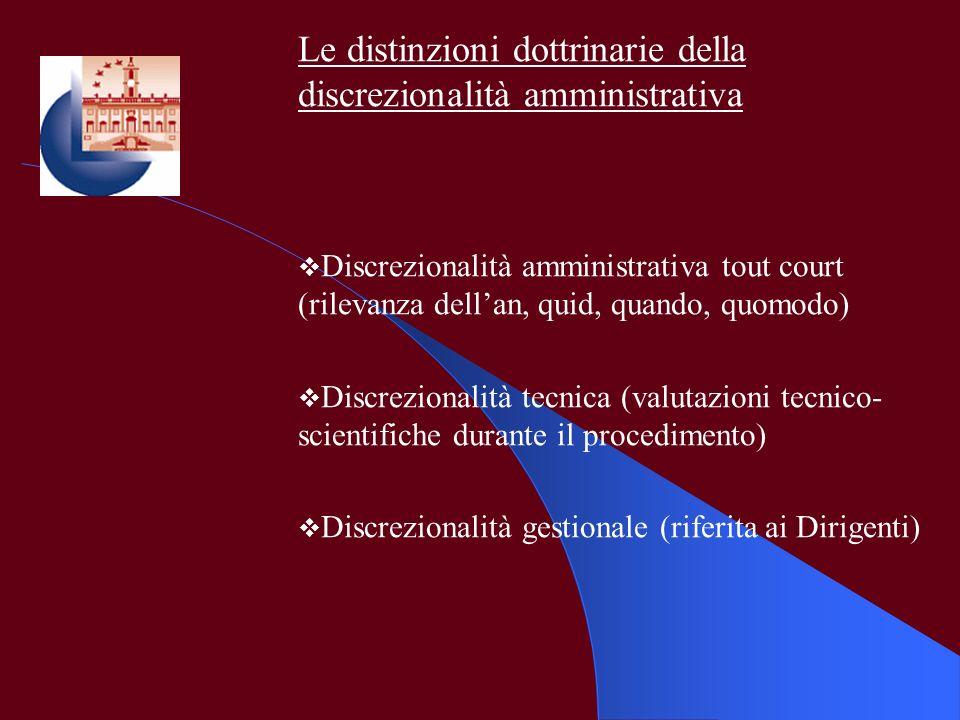 Le distinzioni dottrinarie della discrezionalità amministrativa