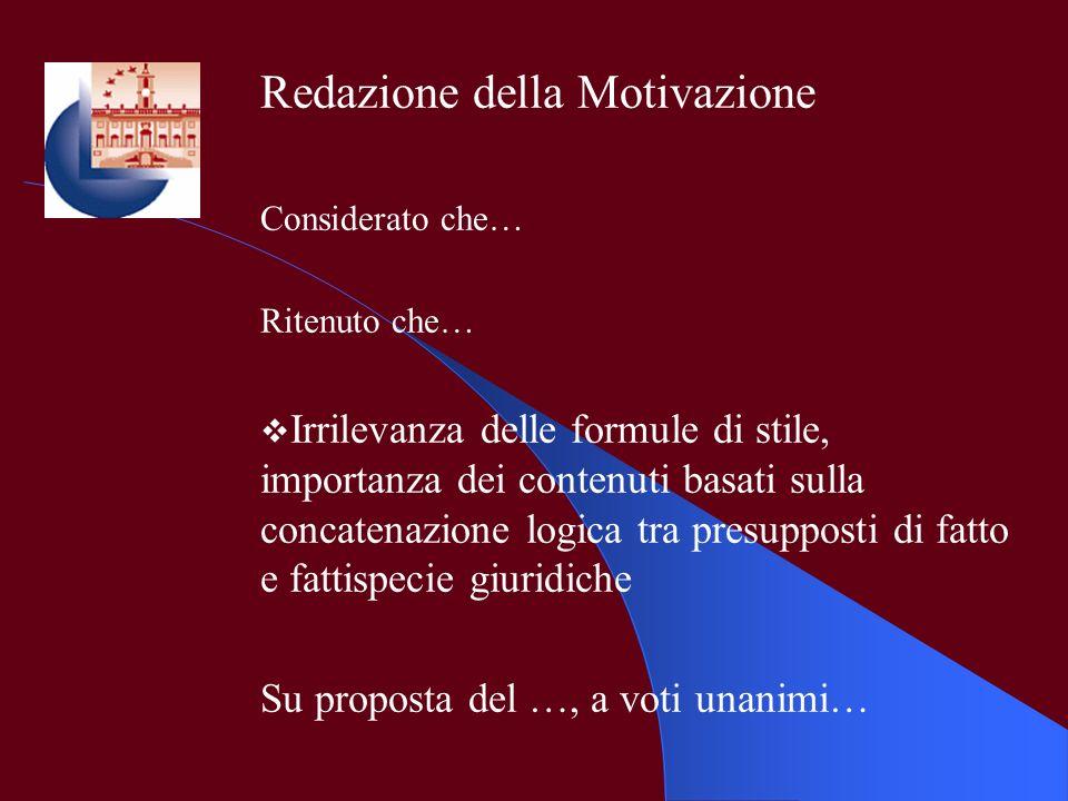 Redazione della Motivazione