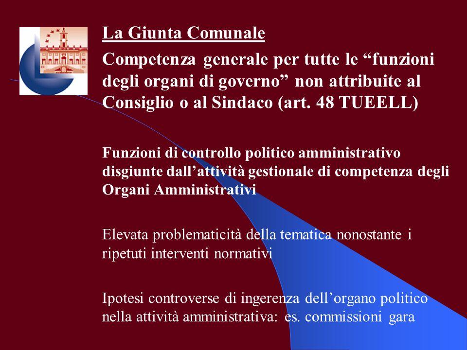 La Giunta Comunale Competenza generale per tutte le funzioni degli organi di governo non attribuite al Consiglio o al Sindaco (art. 48 TUEELL)