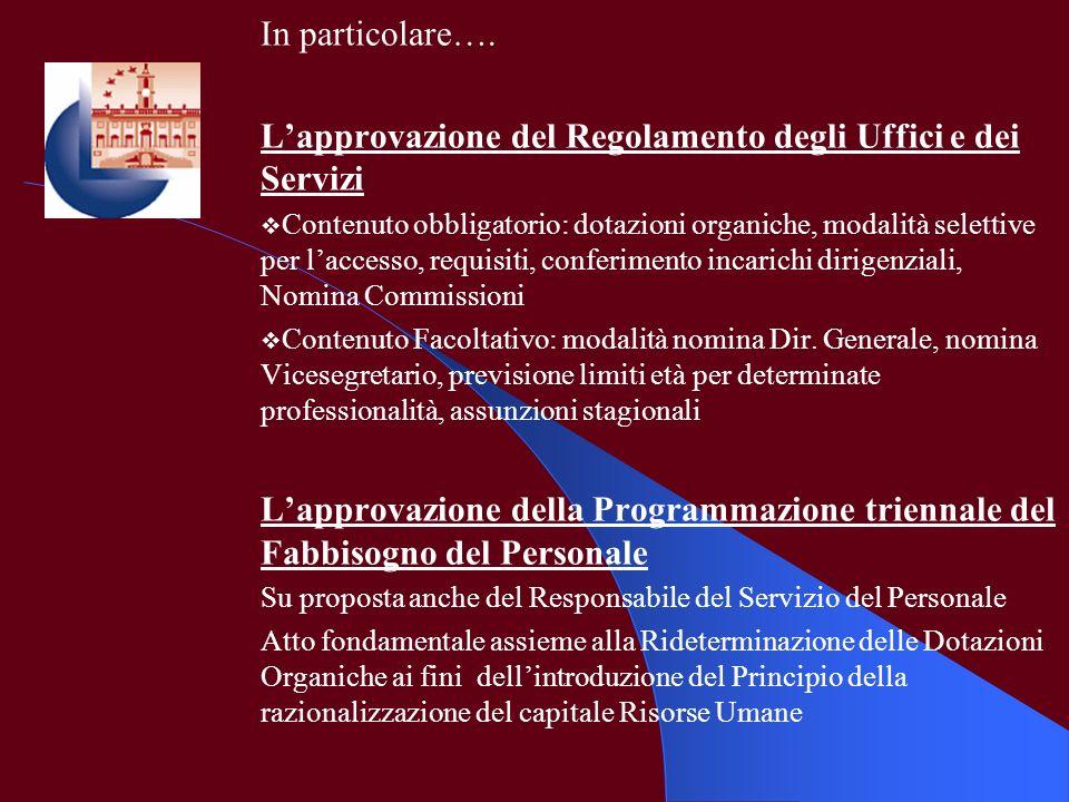L'approvazione del Regolamento degli Uffici e dei Servizi