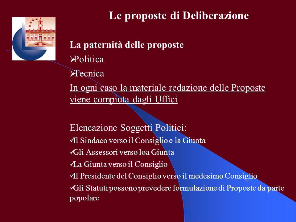 Le proposte di Deliberazione