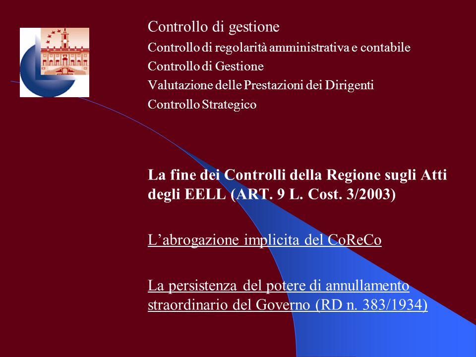 L'abrogazione implicita del CoReCo