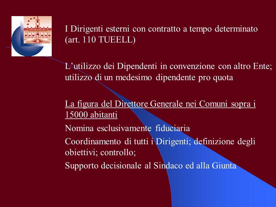 I Dirigenti esterni con contratto a tempo determinato (art. 110 TUEELL)