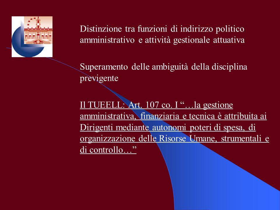 Distinzione tra funzioni di indirizzo politico amministrativo e attività gestionale attuativa