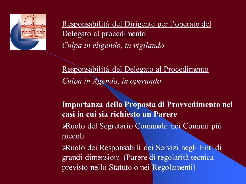 Responsabilità del Dirigente per l'operato del Delegato al procedimento
