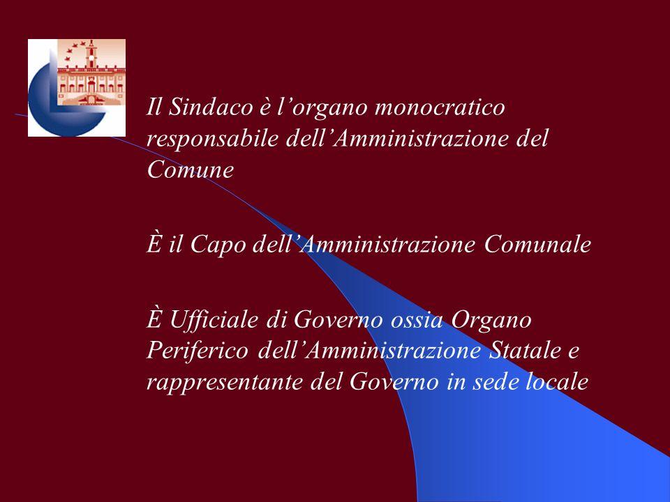 Il Sindaco è l'organo monocratico responsabile dell'Amministrazione del Comune