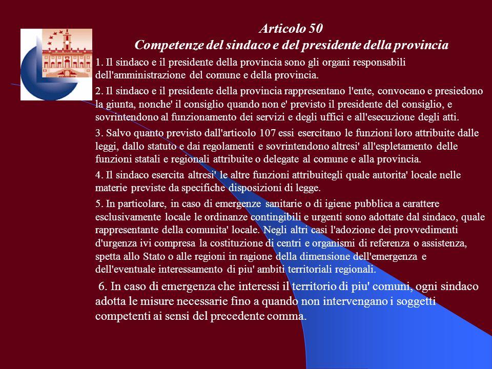 Articolo 50 Competenze del sindaco e del presidente della provincia