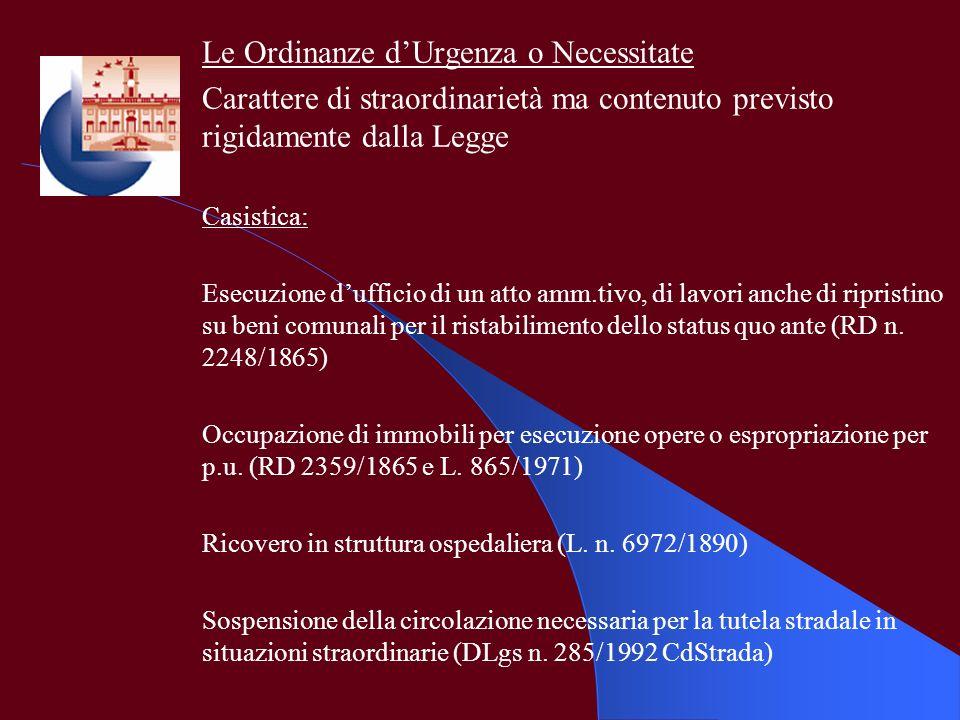 Le Ordinanze d'Urgenza o Necessitate