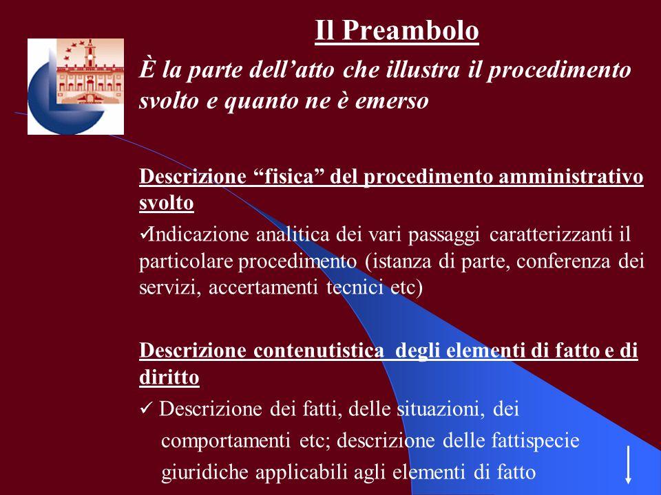 Il Preambolo È la parte dell'atto che illustra il procedimento svolto e quanto ne è emerso.