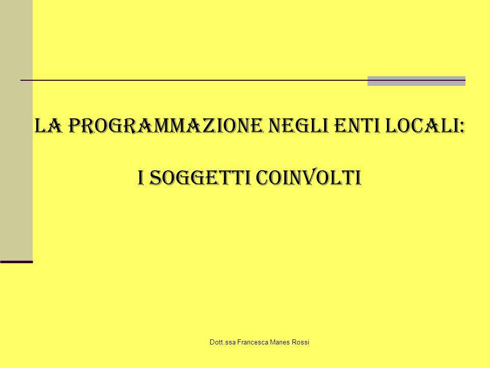 La programmazione negli enti locali: I soggetti coinvolti