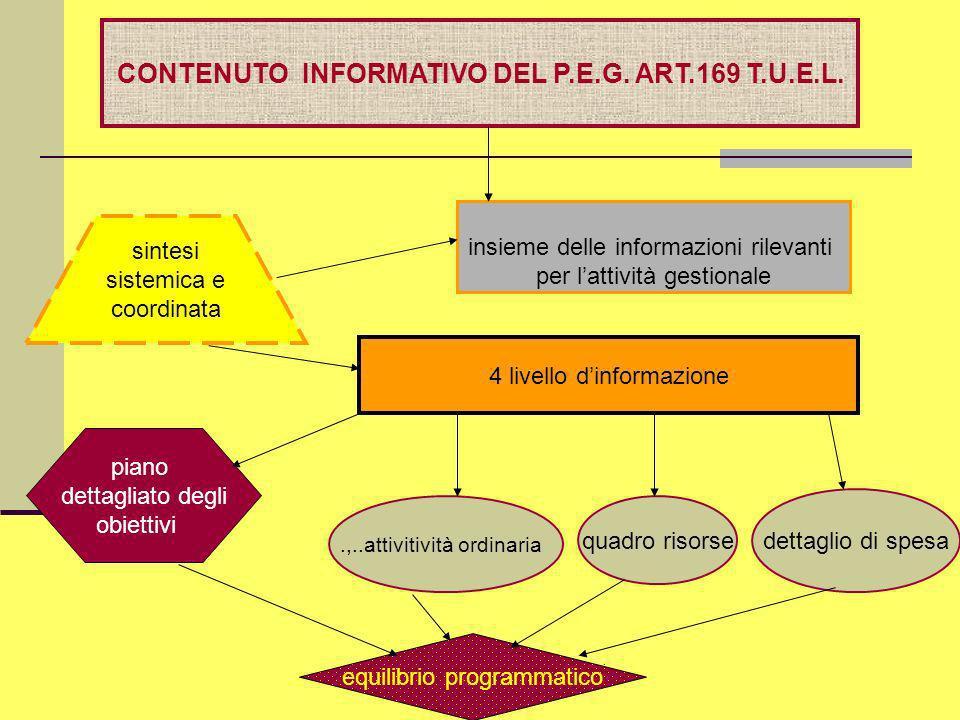 CONTENUTO INFORMATIVO DEL P.E.G. ART.169 T.U.E.L.