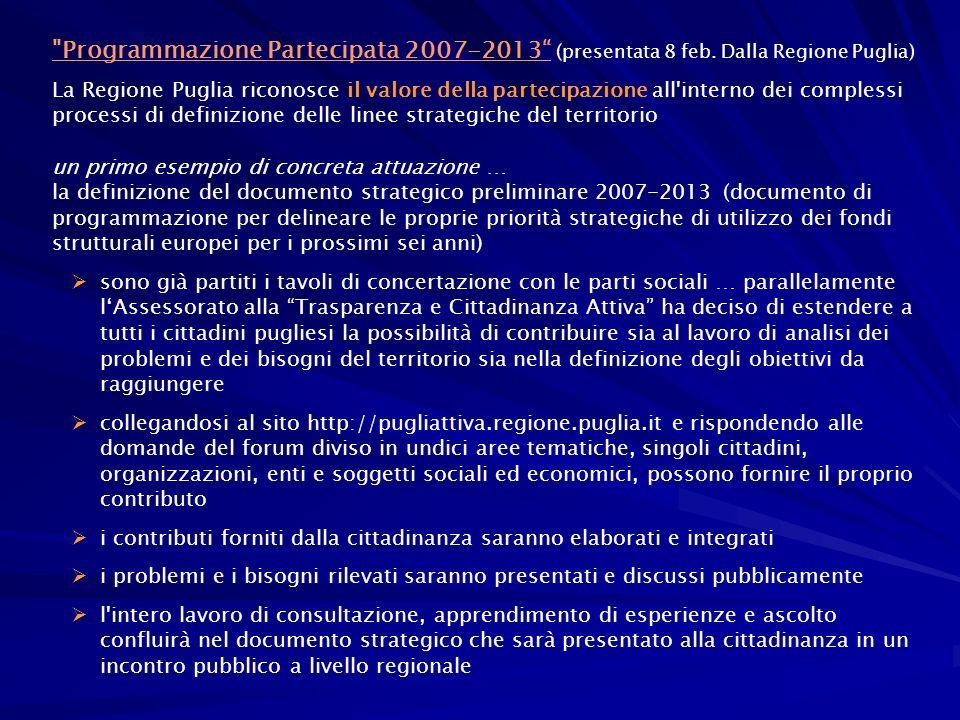 Programmazione Partecipata 2007-2013 (presentata 8 feb