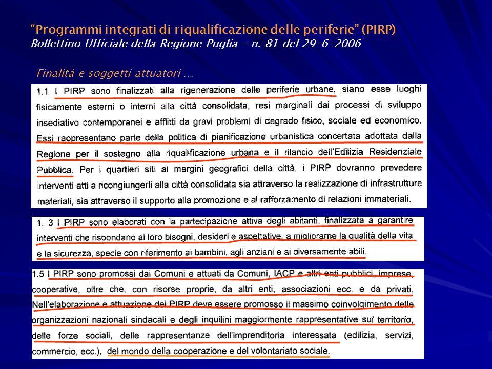 Programmi integrati di riqualificazione delle periferie (PIRP)