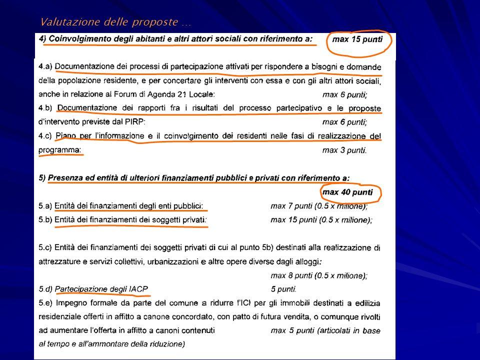 Valutazione delle proposte …