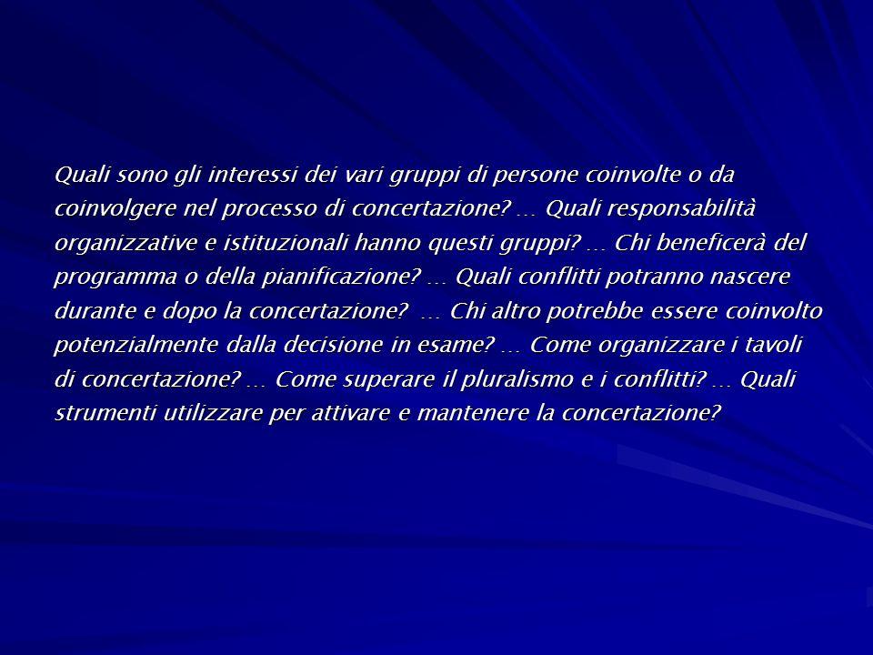 Quali sono gli interessi dei vari gruppi di persone coinvolte o da coinvolgere nel processo di concertazione.
