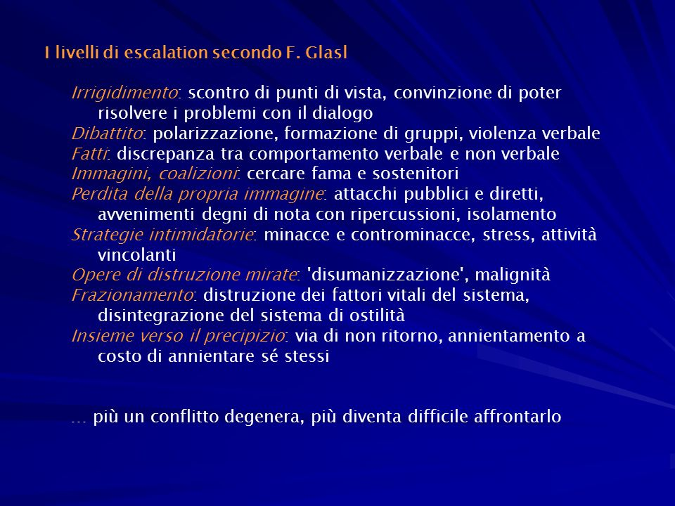 I livelli di escalation secondo F. Glasl