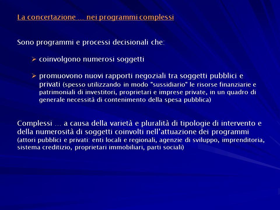 La concertazione … nei programmi complessi