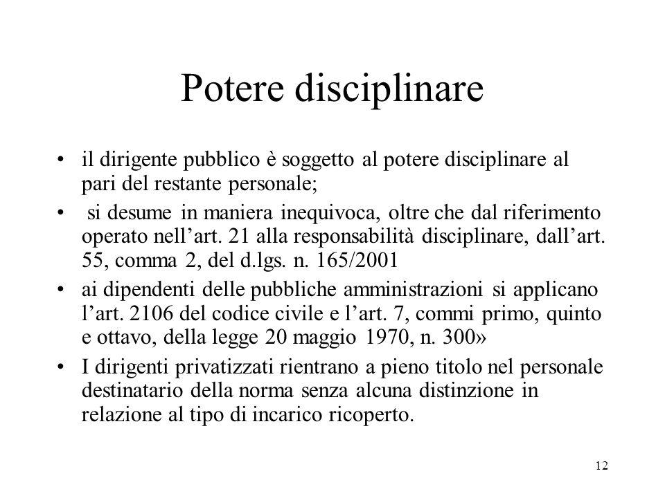 Potere disciplinareil dirigente pubblico è soggetto al potere disciplinare al pari del restante personale;