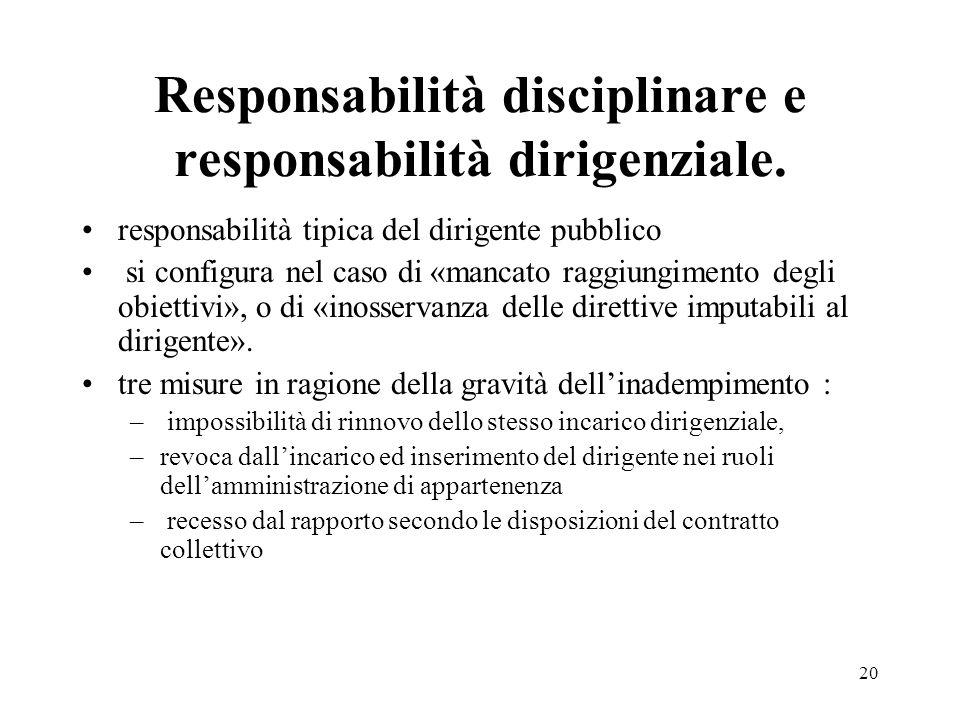 Responsabilità disciplinare e responsabilità dirigenziale.