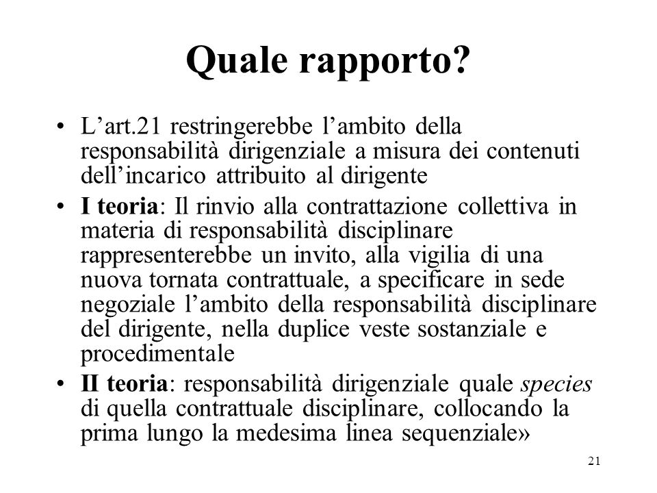 Quale rapporto L'art.21 restringerebbe l'ambito della responsabilità dirigenziale a misura dei contenuti dell'incarico attribuito al dirigente.