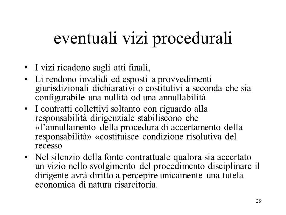 eventuali vizi procedurali