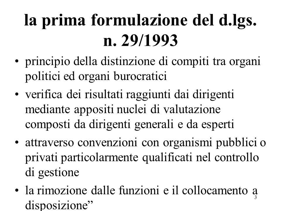 la prima formulazione del d.lgs. n. 29/1993