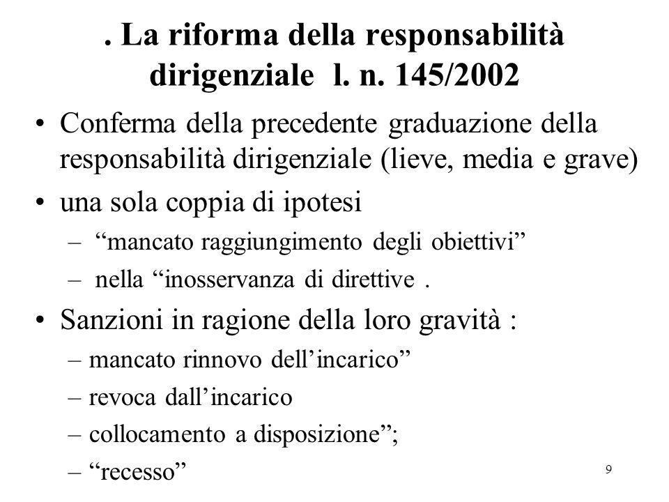 . La riforma della responsabilità dirigenziale l. n. 145/2002