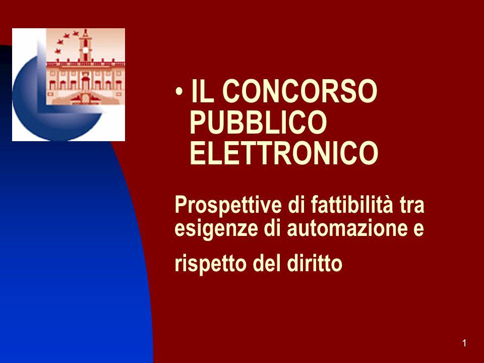 IL CONCORSO PUBBLICO ELETTRONICO Prospettive di fattibilità tra esigenze di automazione e rispetto del diritto