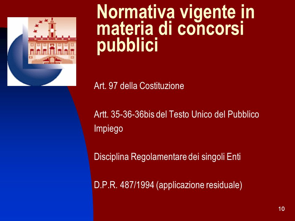 Normativa vigente in materia di concorsi pubblici