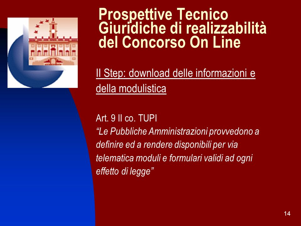 Prospettive Tecnico Giuridiche di realizzabilità del Concorso On Line
