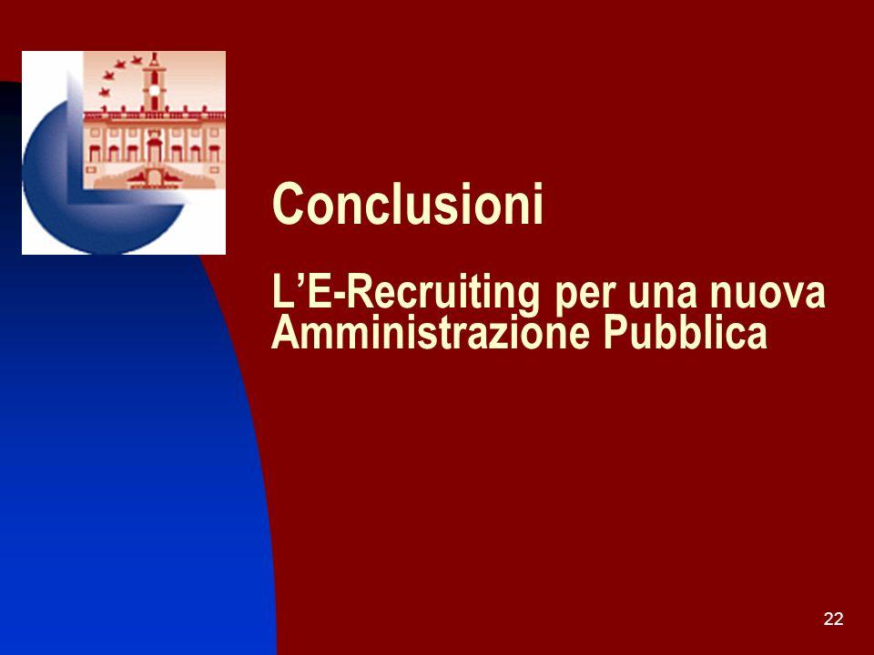Conclusioni L'E-Recruiting per una nuova Amministrazione Pubblica