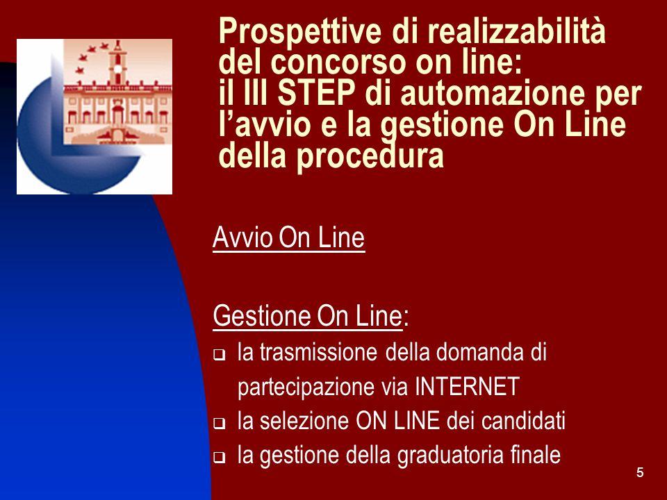 Prospettive di realizzabilità del concorso on line: il III STEP di automazione per l'avvio e la gestione On Line della procedura