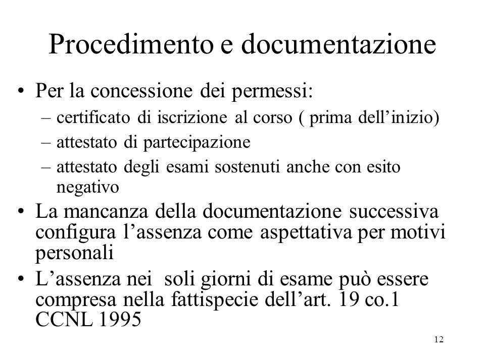 Procedimento e documentazione