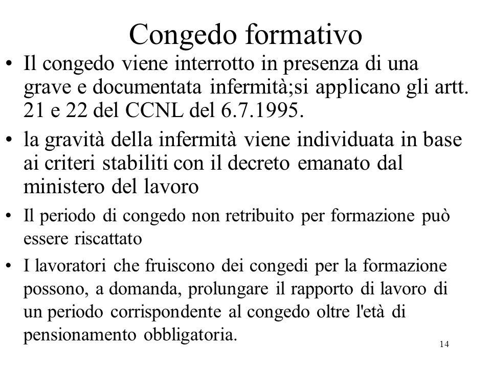 Congedo formativo Il congedo viene interrotto in presenza di una grave e documentata infermità;si applicano gli artt. 21 e 22 del CCNL del 6.7.1995.