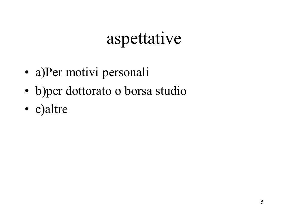 aspettative a)Per motivi personali b)per dottorato o borsa studio