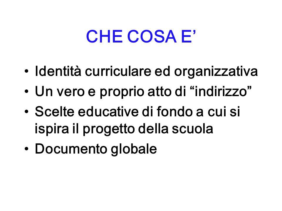 CHE COSA E' Identità curriculare ed organizzativa
