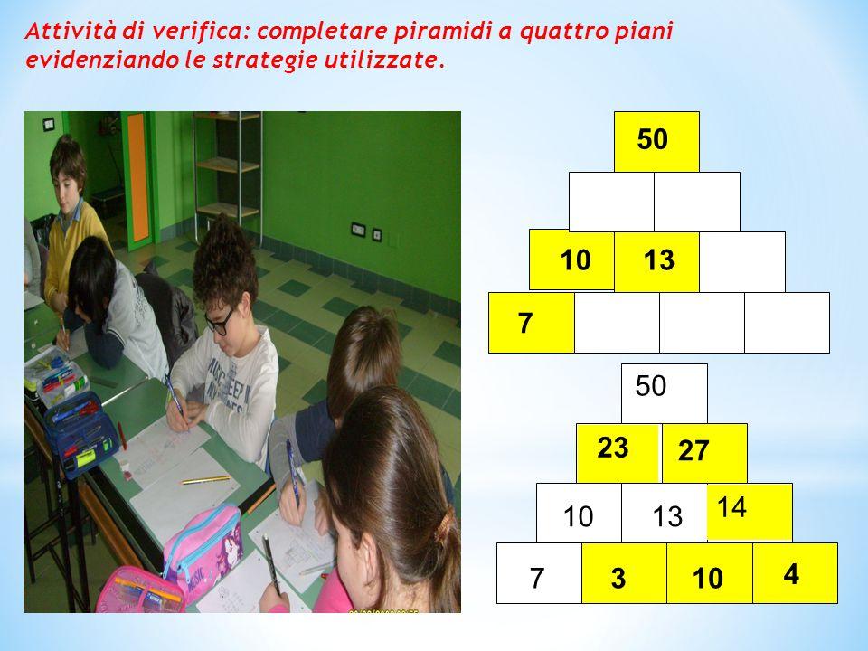 Attività di verifica: completare piramidi a quattro piani evidenziando le strategie utilizzate.