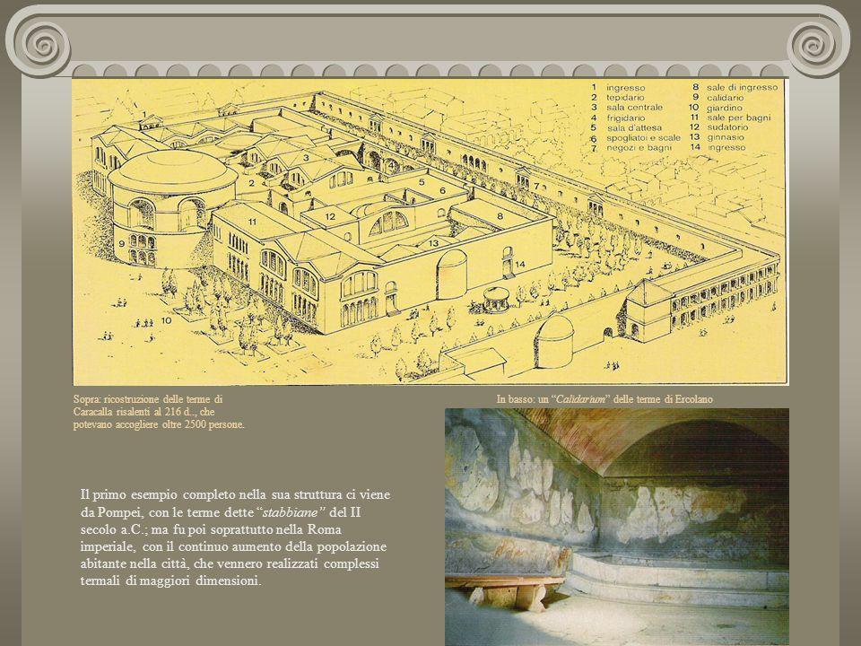Sopra: ricostruzione delle terme di Caracalla risalenti al 216 d