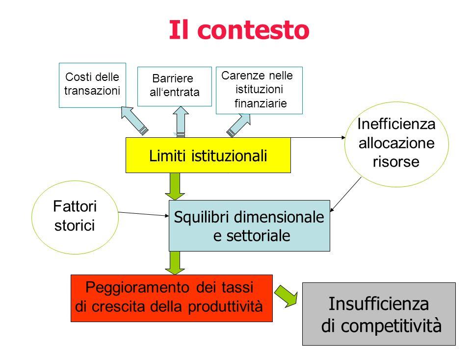 Il contesto Insufficienza di competitività Inefficienza allocazione