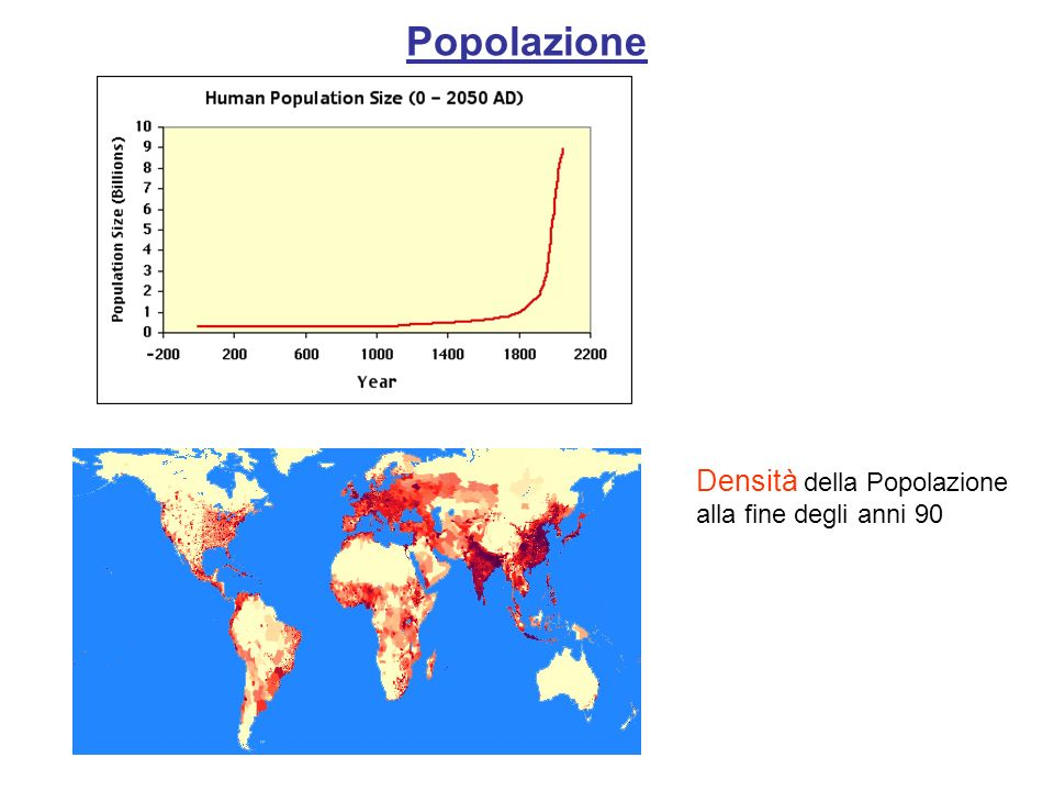Popolazione Densità della Popolazione alla fine degli anni 90