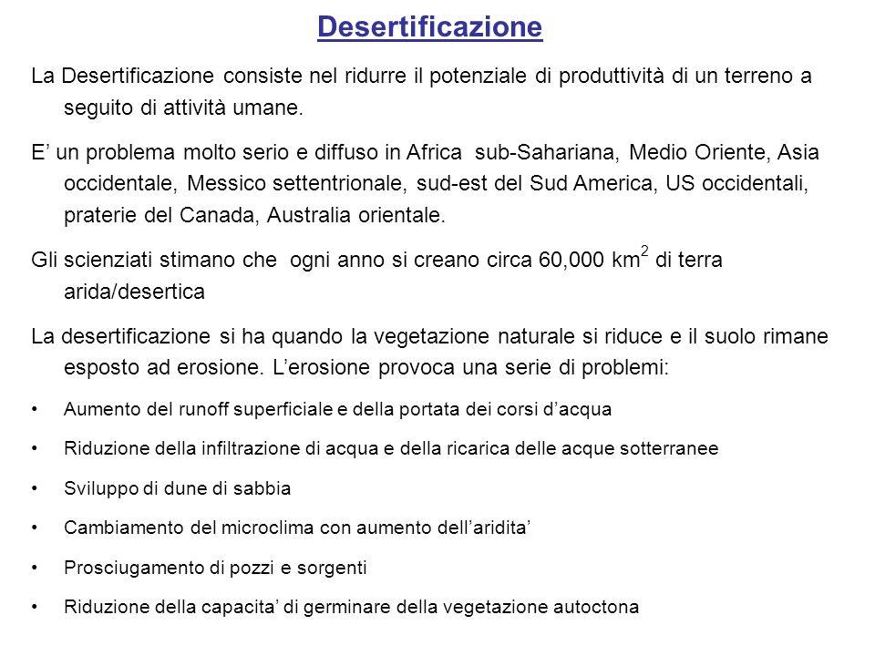 Desertificazione La Desertificazione consiste nel ridurre il potenziale di produttività di un terreno a seguito di attività umane.