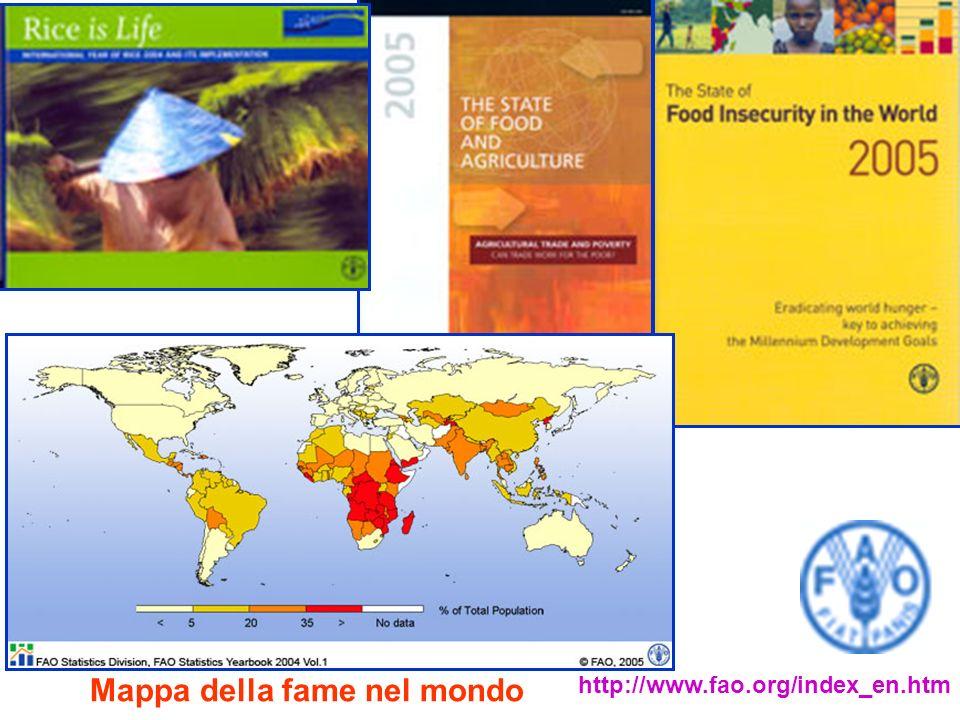 Mappa della fame nel mondo