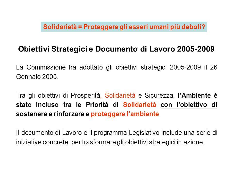 Obiettivi Strategici e Documento di Lavoro 2005-2009