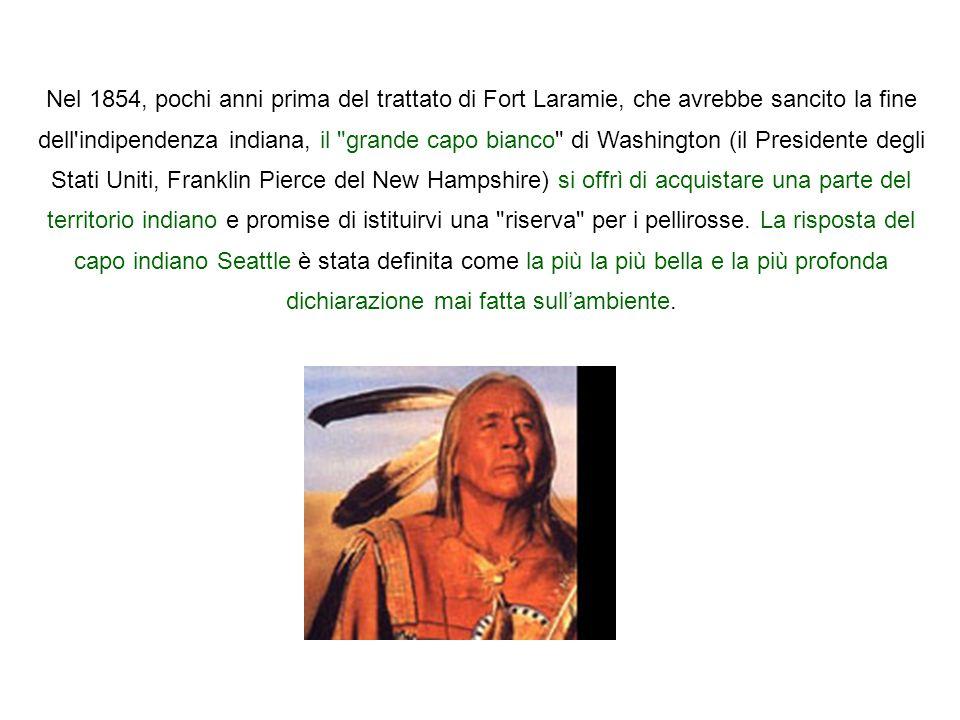 Nel 1854, pochi anni prima del trattato di Fort Laramie, che avrebbe sancito la fine dell indipendenza indiana, il grande capo bianco di Washington (il Presidente degli Stati Uniti, Franklin Pierce del New Hampshire) si offrì di acquistare una parte del territorio indiano e promise di istituirvi una riserva per i pellirosse.