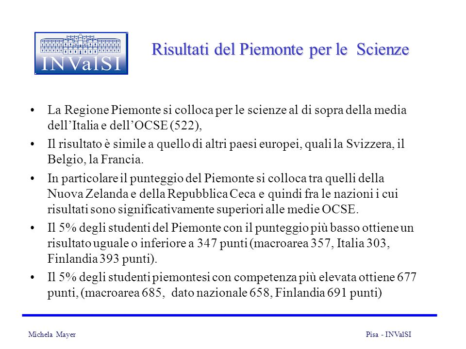 Risultati del Piemonte per le Scienze