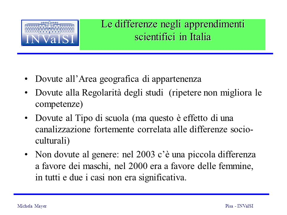 Le differenze negli apprendimenti scientifici in Italia